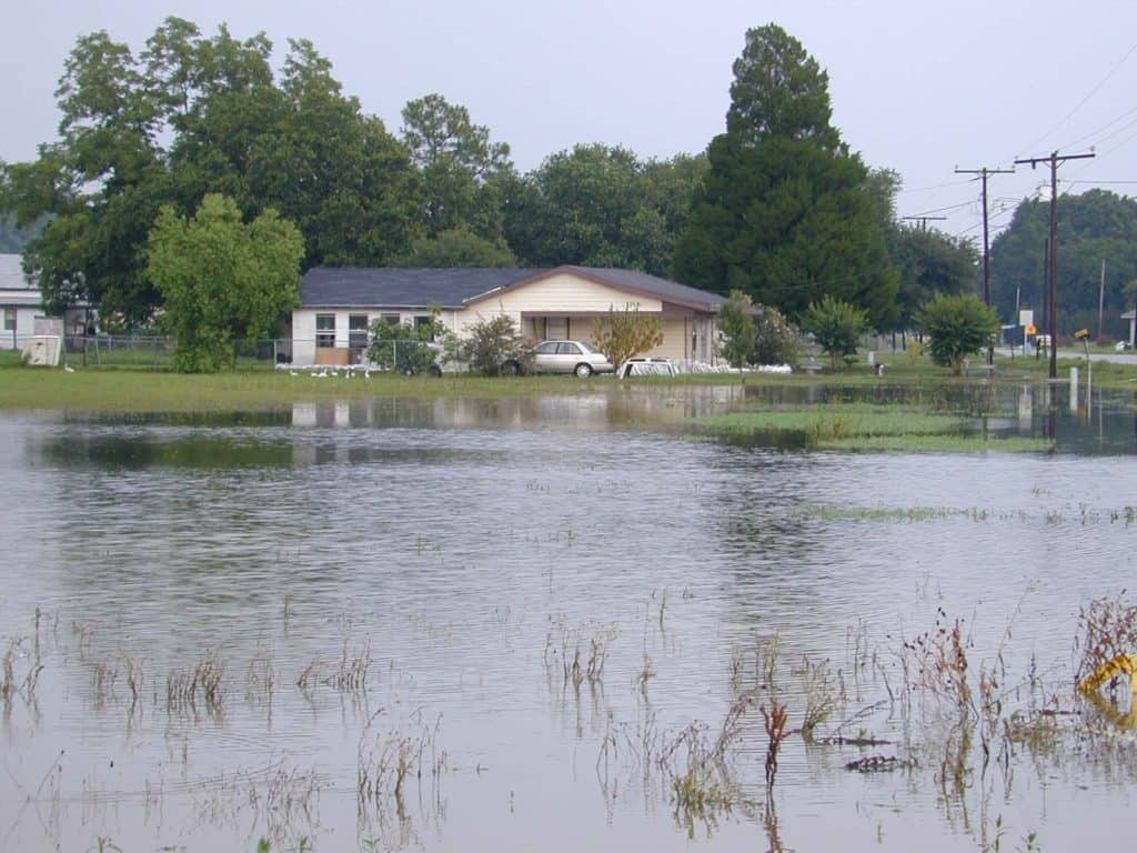Baton Rouge, LA, June 20, 2001-- A flooded home in Chackbay, Louisiana. This was the last area for the flood water to recede following tropical storm Allison. FEMA News Photo by Butch DuCote/FEMA News Photo.