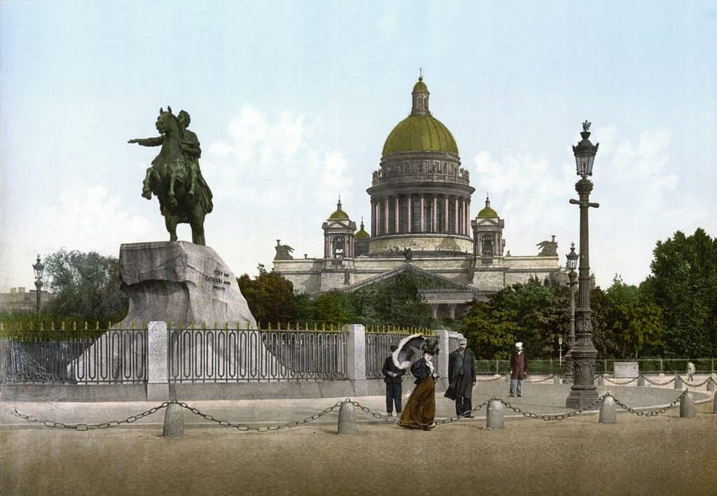 1200px-Bronze_Horseman_and_St'Isaac's_cathedral_1890-1900