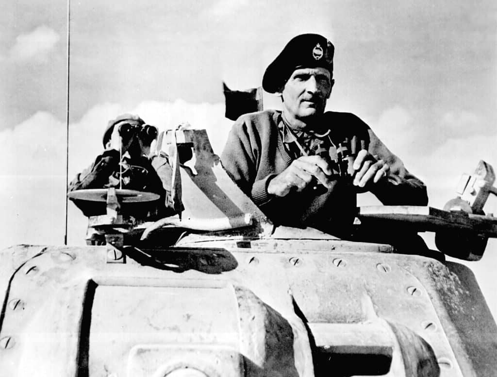 """General Bernard L. Montgomery watches his tanks move up."""" North Africa, November 1942"""