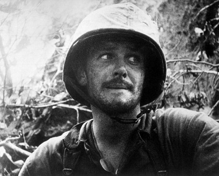 US Marine in action at Peleliu Island, Palau Islands, Ca. September 1944. (Navy) Exact Date Shot Unknown NARA FILE #: 080-G-48358 WAR & CONFLICT BOOK #: 1182