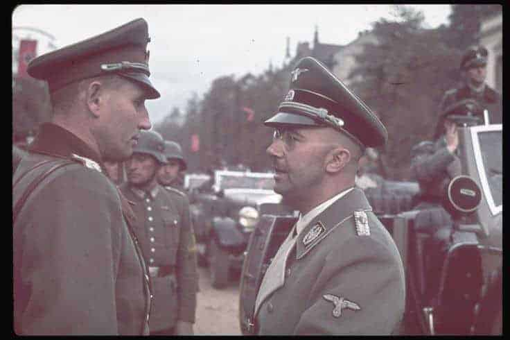 Himmler (R) with unidentified military policeman in Warsaw after German invasion of Poland.