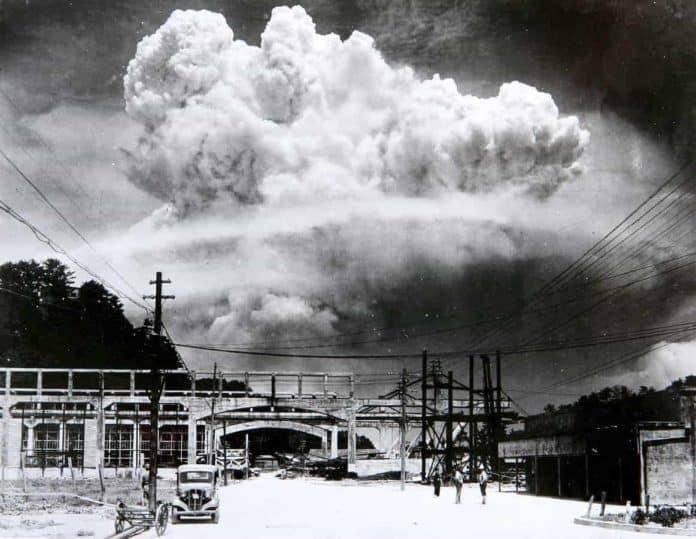Nuclear cloud over Nagasaki