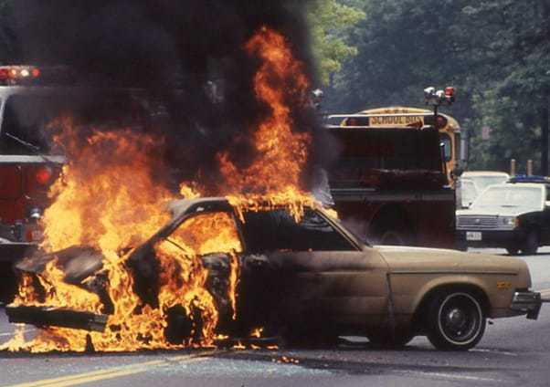 Image result for images of ford pinto in flames""