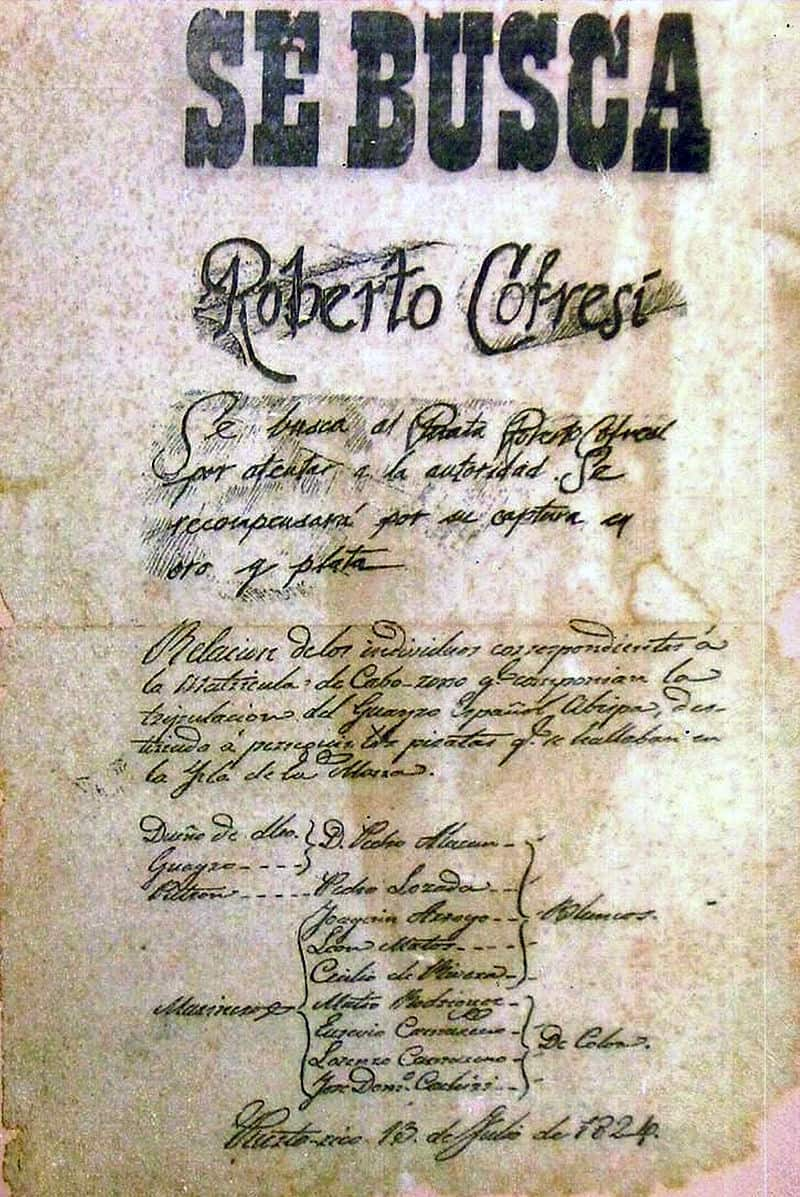 A 1824 Wanted Poster Issued By The Spanish Empire And Offering Gold Silver Bounty For Capture Of Pirate Captain Roberto Cofresi Wikipedia