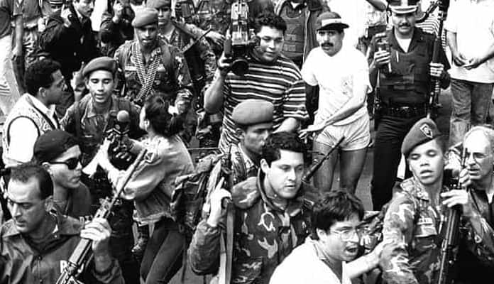 Photographs of Hugo Chavez and the Venezuelan Socialist Coup
